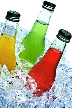 beverage bottles on ice