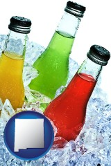new-mexico beverage bottles on ice