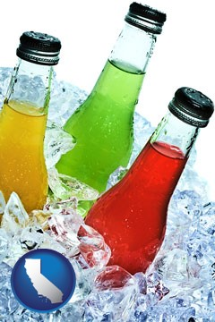 beverage bottles on ice - with California icon