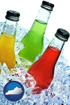 beverage bottles on ice - with Kentucky icon