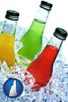 beverage bottles on ice - with New Hampshire icon