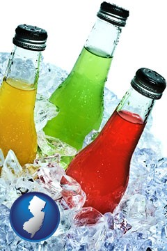 beverage bottles on ice - with New Jersey icon