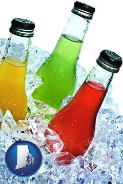 beverage bottles on ice - with Rhode Island icon