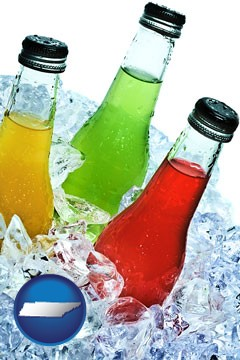 beverage bottles on ice - with Tennessee icon