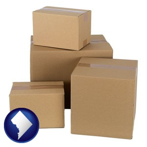 a stack of cardboard boxes - with Washington, DC icon