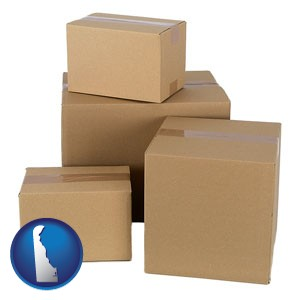 a stack of cardboard boxes - with Delaware icon