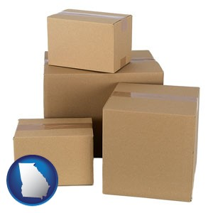 a stack of cardboard boxes - with Georgia icon
