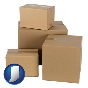 a stack of cardboard boxes - with Indiana icon