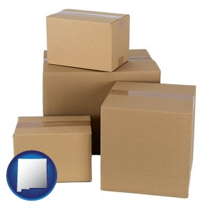 a stack of cardboard boxes - with New Mexico icon