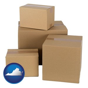 a stack of cardboard boxes - with Virginia icon