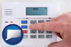 connecticut map icon and setting a home burglar alarm