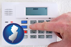 new-jersey map icon and setting a home burglar alarm