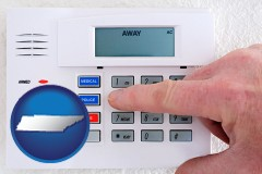 tennessee map icon and setting a home burglar alarm