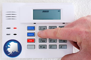 setting a home burglar alarm - with Alaska icon