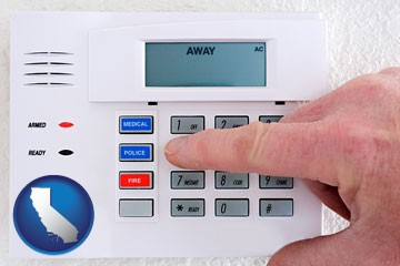 setting a home burglar alarm - with California icon