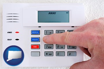 setting a home burglar alarm - with Connecticut icon