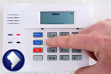 setting a home burglar alarm - with Washington, DC icon