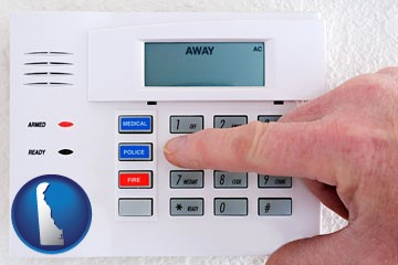setting a home burglar alarm - with Delaware icon