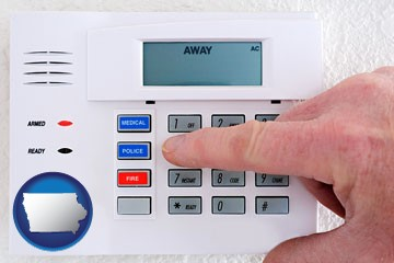 setting a home burglar alarm - with Iowa icon