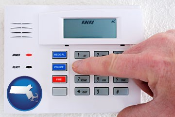 setting a home burglar alarm - with Massachusetts icon