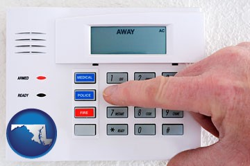 setting a home burglar alarm - with Maryland icon