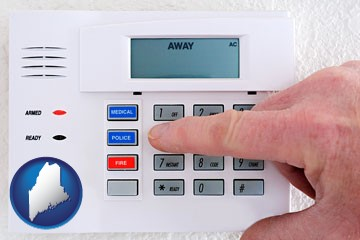 setting a home burglar alarm - with Maine icon