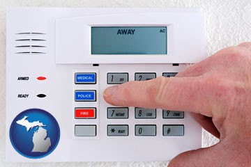 setting a home burglar alarm - with Michigan icon