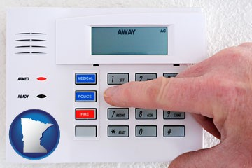 setting a home burglar alarm - with Minnesota icon