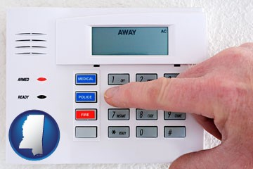 setting a home burglar alarm - with Mississippi icon