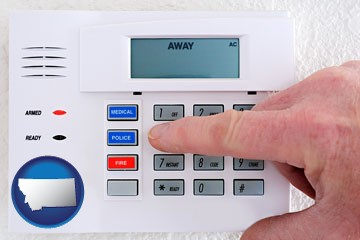 setting a home burglar alarm - with Montana icon