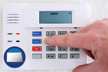 setting a home burglar alarm - with North Dakota icon