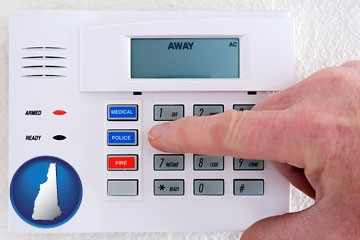 setting a home burglar alarm - with New Hampshire icon