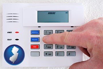 setting a home burglar alarm - with New Jersey icon