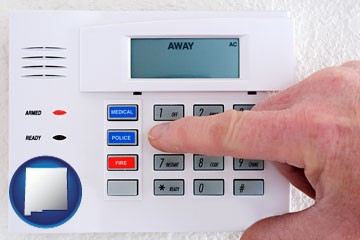 setting a home burglar alarm - with New Mexico icon