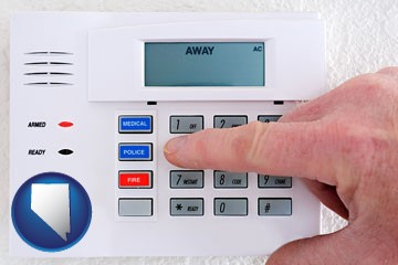 setting a home burglar alarm - with Nevada icon