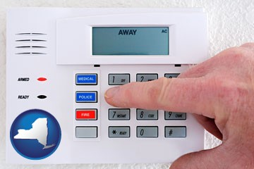 setting a home burglar alarm - with New York icon