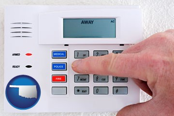 setting a home burglar alarm - with Oklahoma icon
