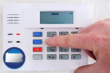 setting a home burglar alarm - with Pennsylvania icon
