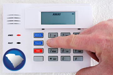 setting a home burglar alarm - with South Carolina icon