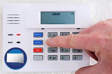 setting a home burglar alarm - with South Dakota icon
