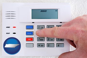 setting a home burglar alarm - with Tennessee icon