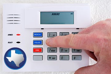 setting a home burglar alarm - with Texas icon