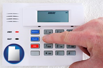 setting a home burglar alarm - with Utah icon