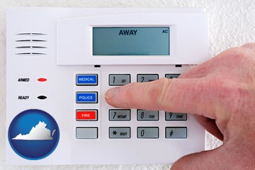 setting a home burglar alarm - with Virginia icon