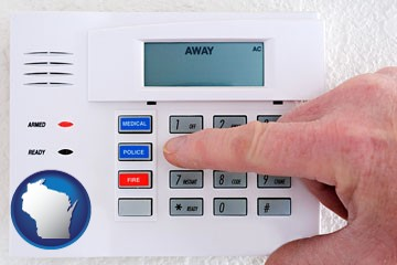 setting a home burglar alarm - with Wisconsin icon