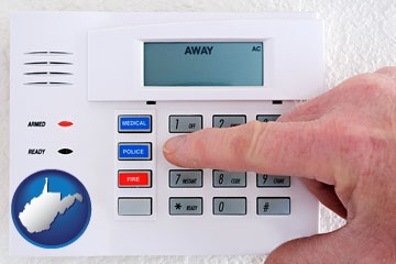 setting a home burglar alarm - with West Virginia icon