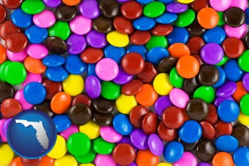 colorful candies - with Florida icon