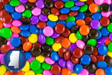 colorful candies - with Mississippi icon