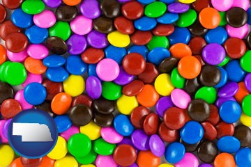 colorful candies - with Nebraska icon