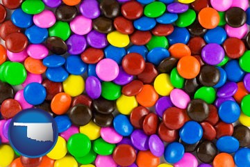 colorful candies - with Oklahoma icon